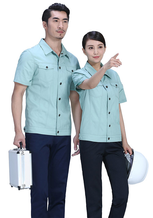 豆绿短袖工作服
