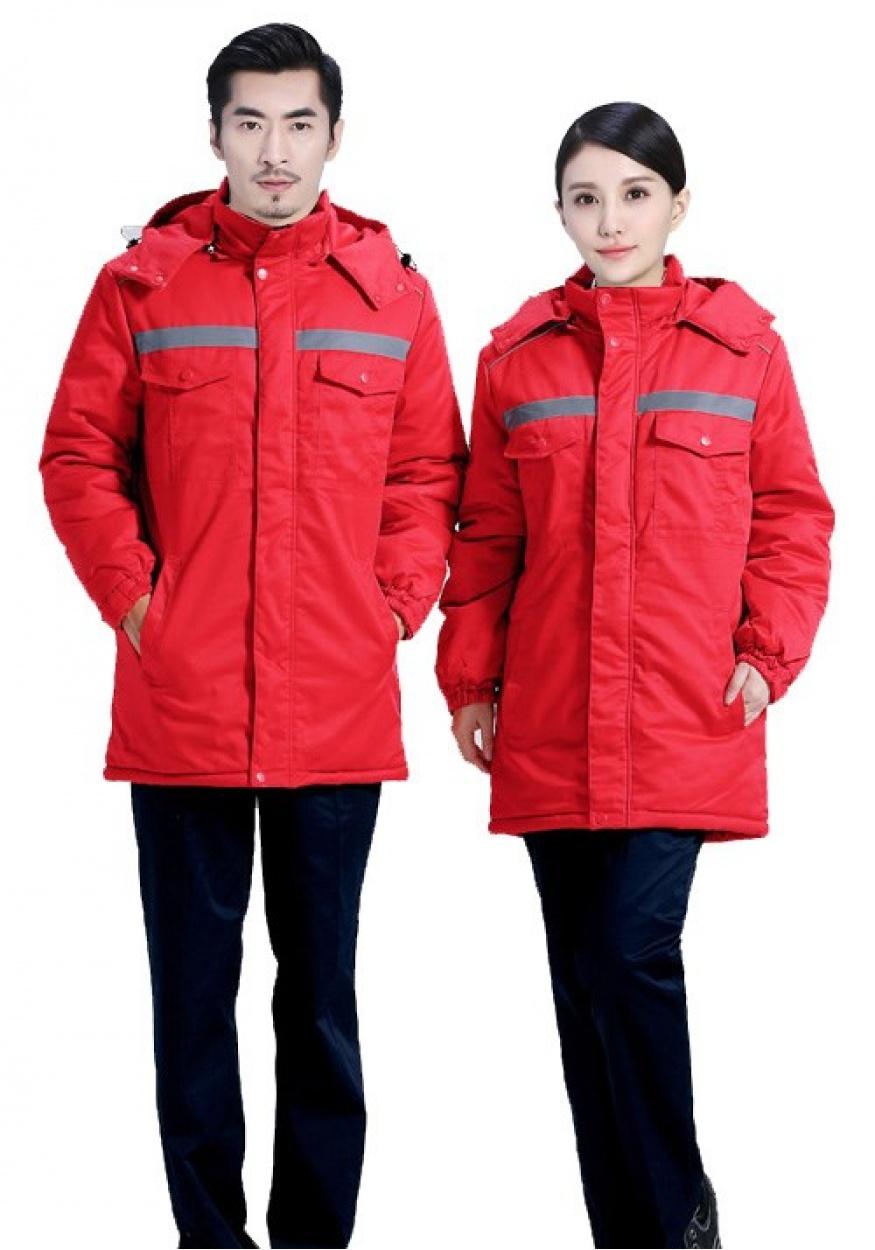新款大红色YLLK依兰琳卡工作服棉服001