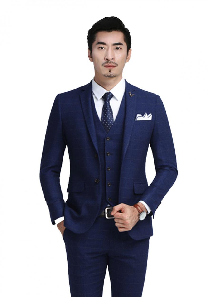 新款蓝色商务男士西装西服
