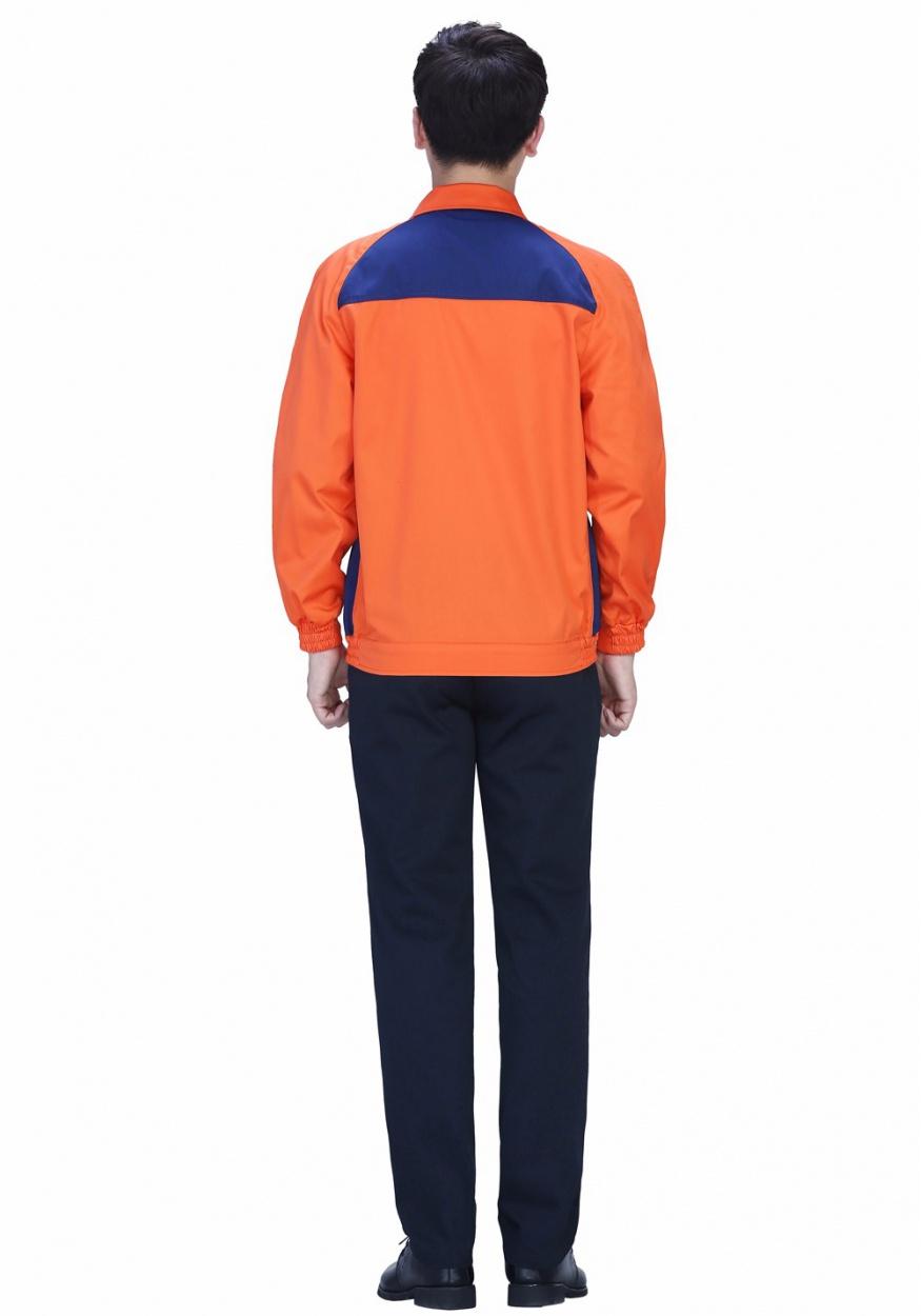 新款桔红+深裤经典配色涤棉纱卡春秋长袖工作服