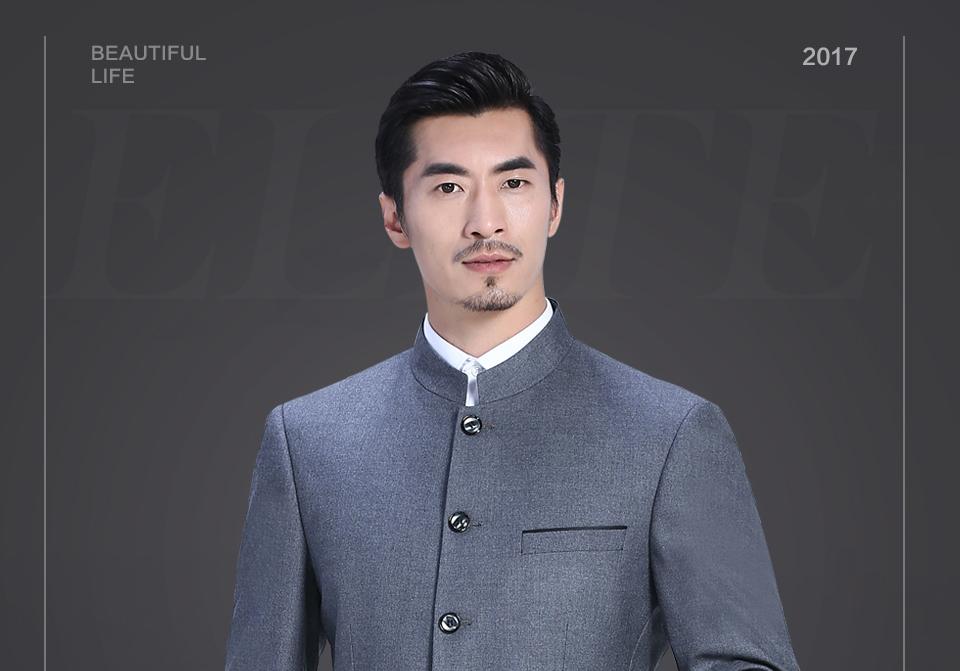 新中灰色休闲中华立领套装FX10