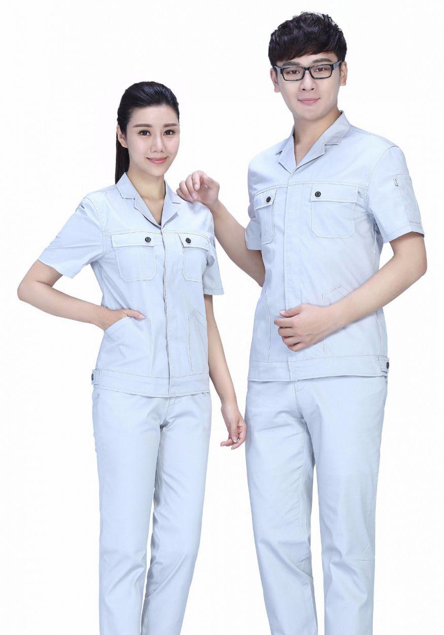 2019新款蓝白色夏季涤棉细斜短袖工作服FY633
